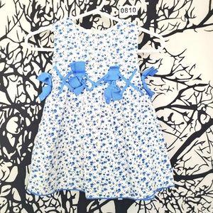 4/$25 EPK Floral Baby Girl Dress White & Blue 6M